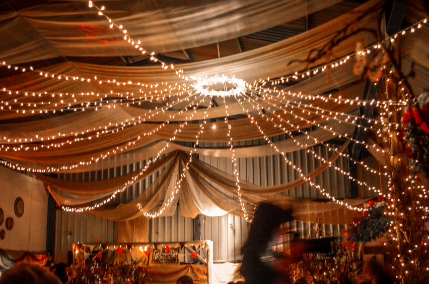 Fairy lights at a party