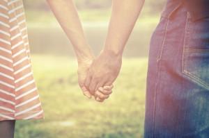 Vintage filtered color of couple relationship.