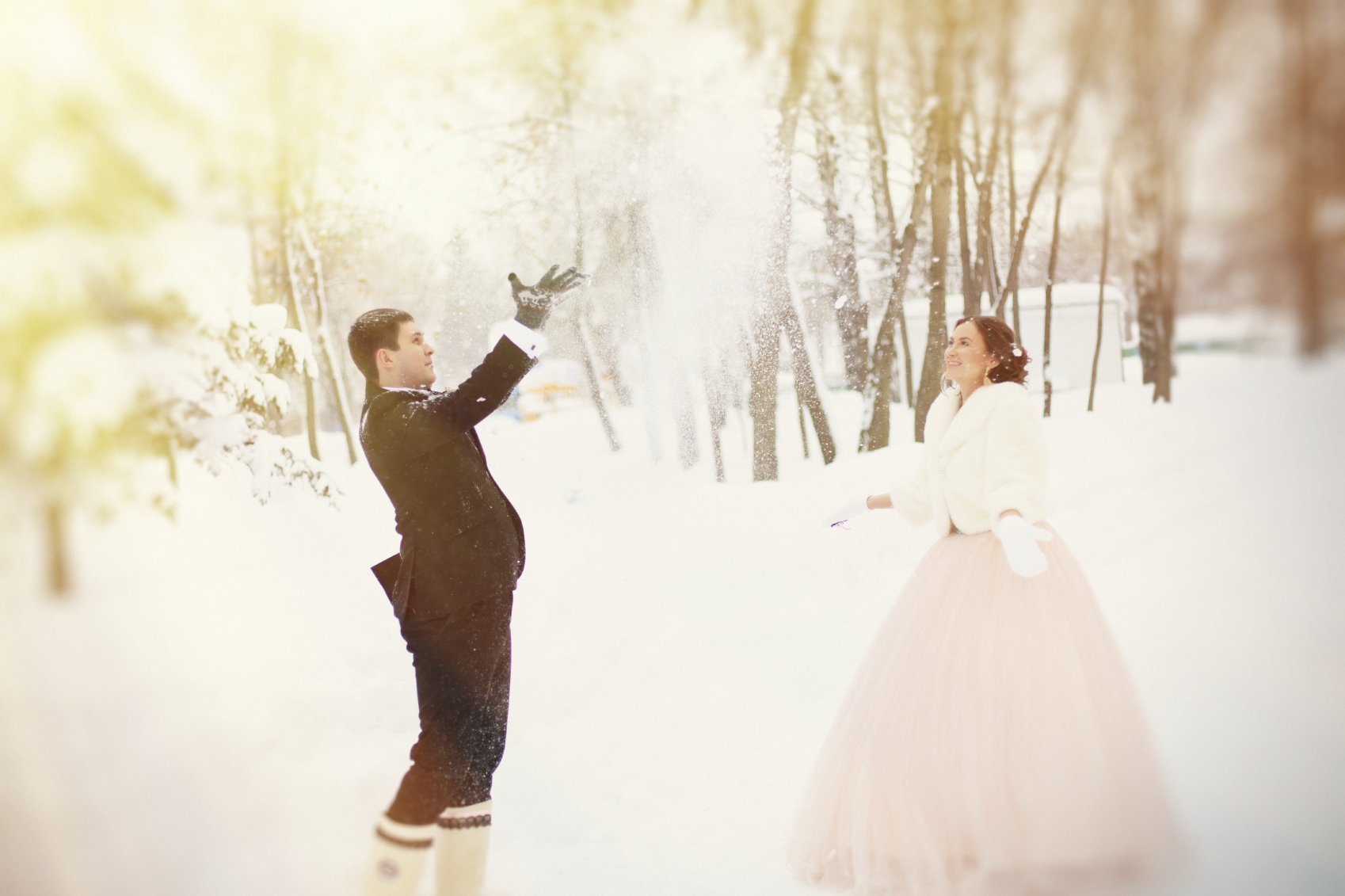 Newlyweds in the winter park