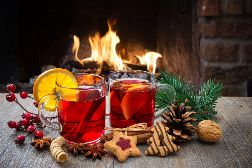 Mulled wine at romantic fireplace